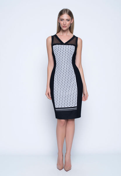 Contrast Trimmed Sleeveless Dress. Polka dot bodycon dress.