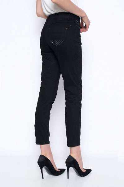 ankle length denim pants with embellished detail in black back view