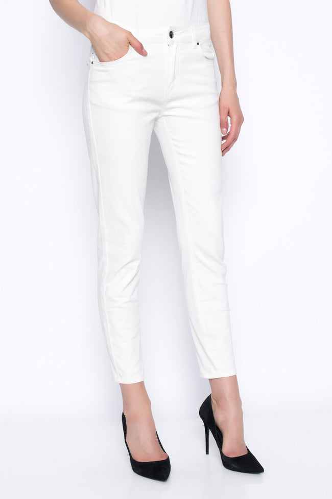ankle length denim pants in white