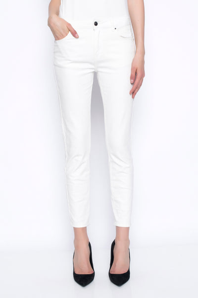ankle length denim pants with embellished detail in white front view