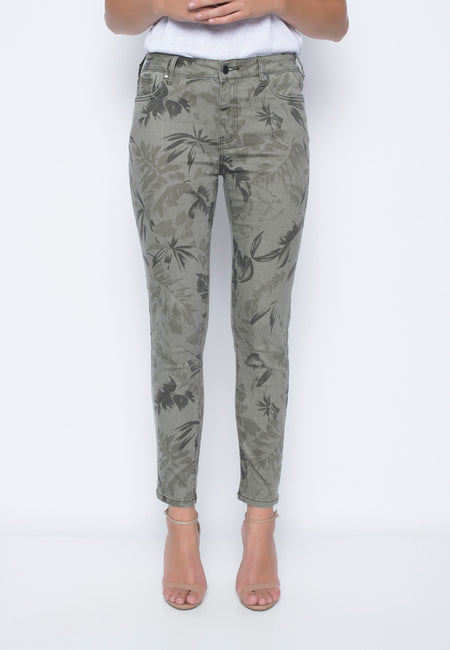 Printed Cropped Denim Pants