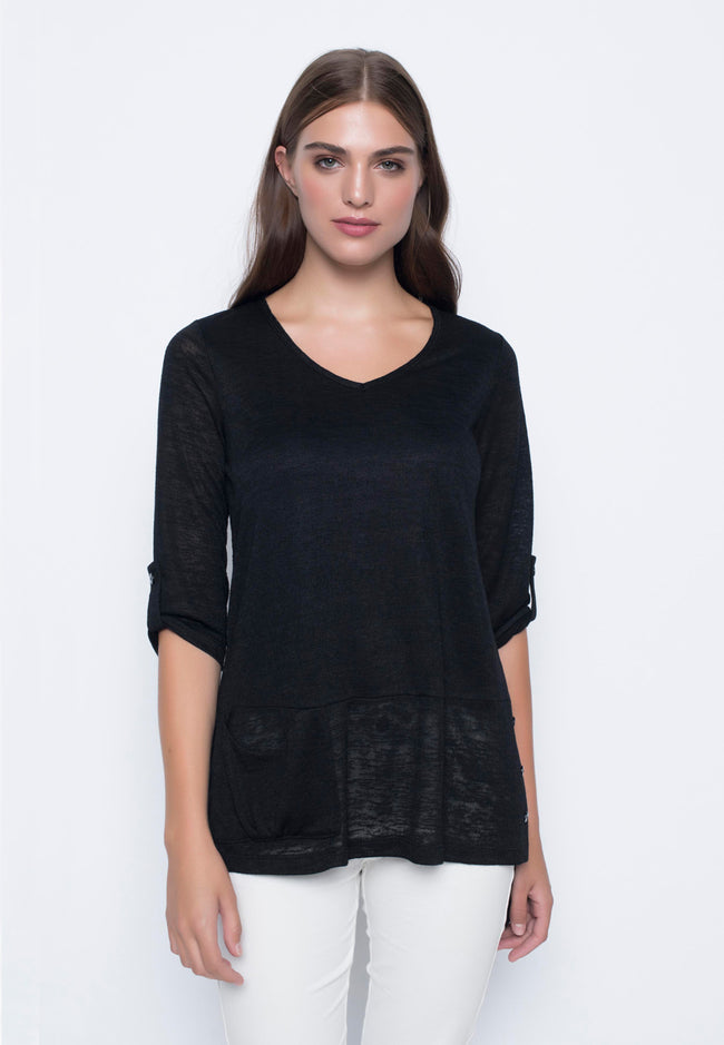 ¾ Sleeve 1-Side Pocket V-Neck Top