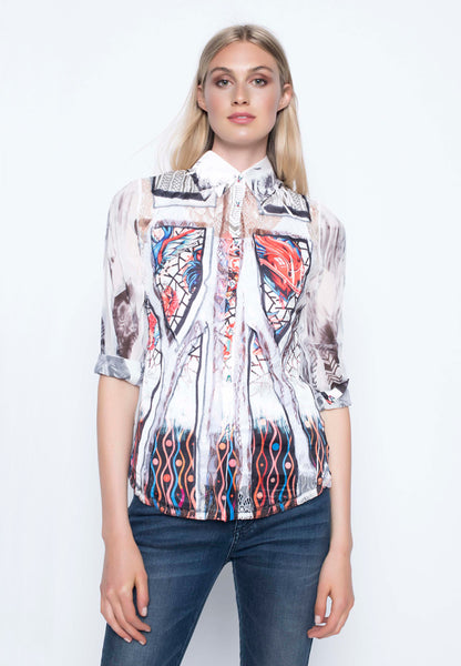 Long Sleeve Custom Print Blouse
