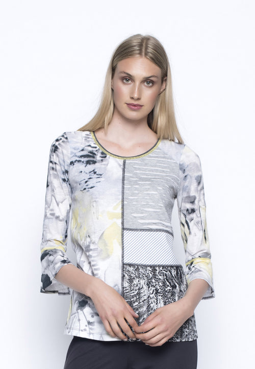 Ruffled Sleeve Fabric Combo Top