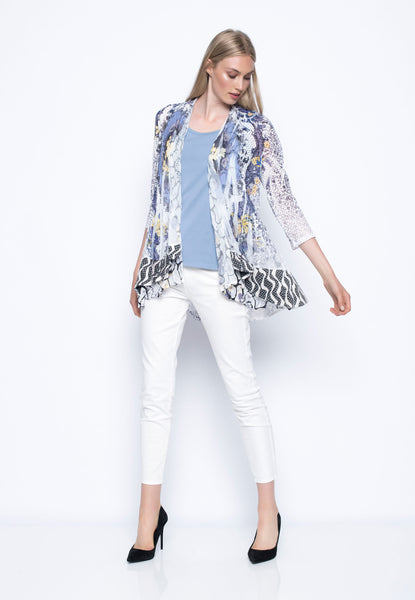 Fabric Combo Custom Print Open-Front Jacket