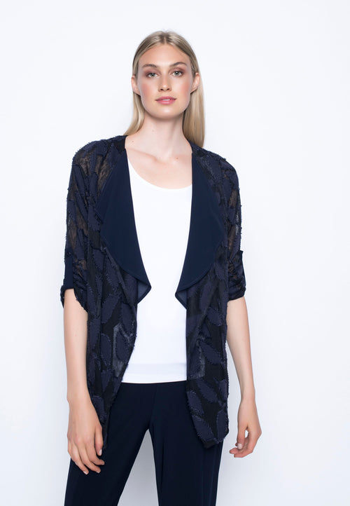 Chiffon Trimmed Open-Front Jacket