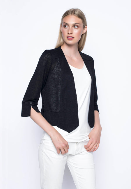 ¾ Sleeve Jacket With Stand Collar