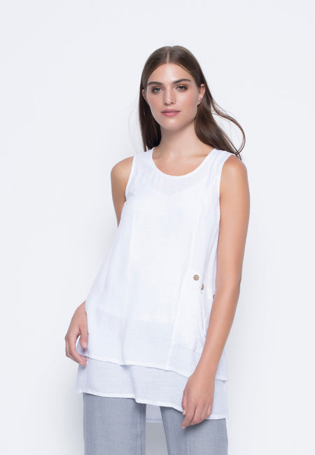 Chiffon Overlay Top With Hi-Low Hem