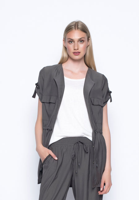Open Front Jacket With Button Sleeve