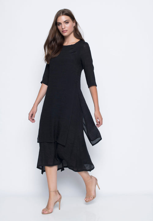 ¾ Sleeve Layered Dress