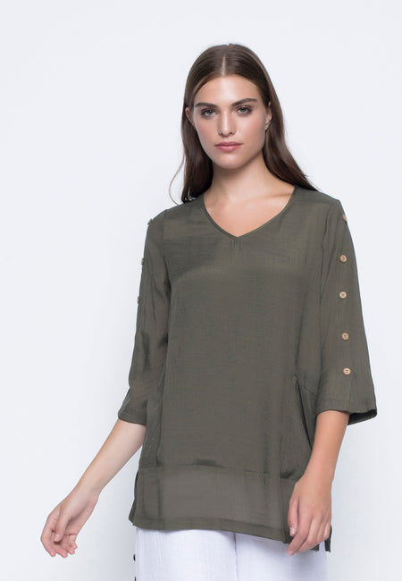 ¾ Sleeve Faux Layered Top