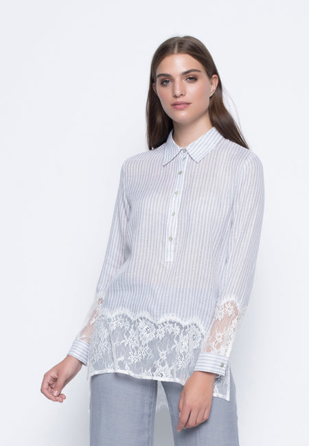 Lace Trimmed Frilled Sleeve Top