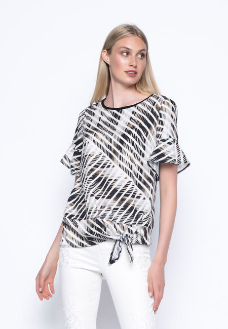 V-Neck Top With Asymmetric Hem