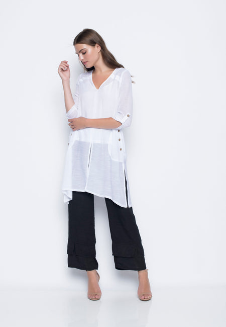 Pull-on Pants With Ruched Hem