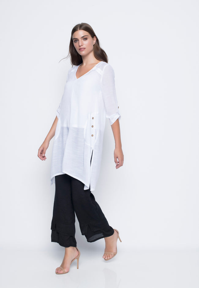 V-Neck Long Tunic With Slit