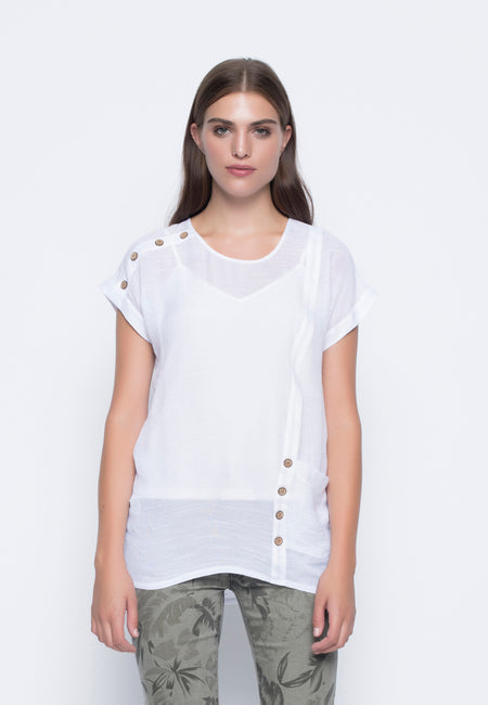 Lace Trimmed Short Sleeve Top