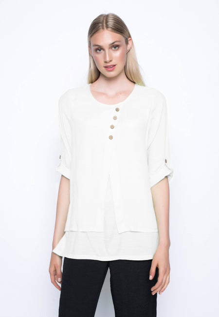 ¾ Sleeve Button-Front Blouse