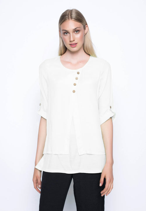 3-4 Sleeve Layered Top White