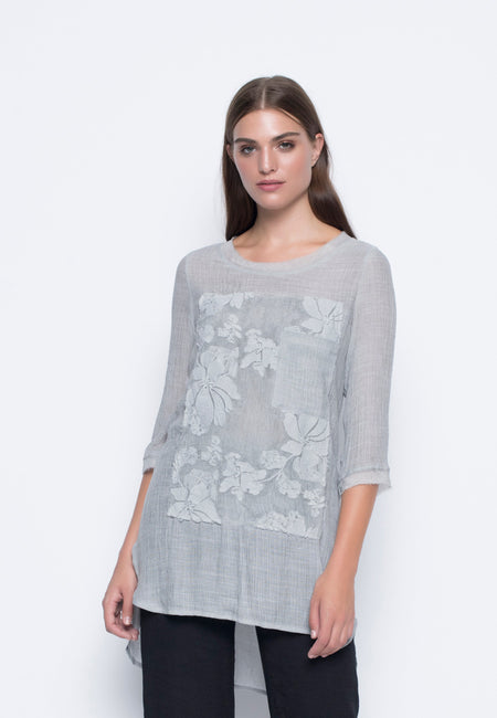 Long Sleeve Tie-Front Embellished Tunic