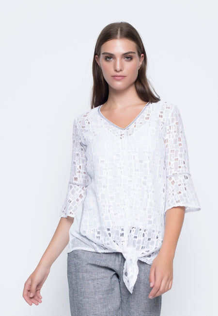 Ruffle Sleeve Top With Curved Hem