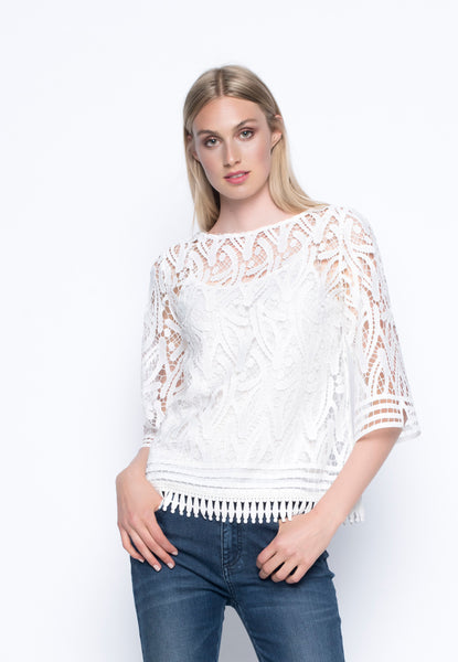 ¾ Sleeve Lace Top