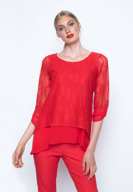 Pear Trimmed Mesh Yoke Blouse