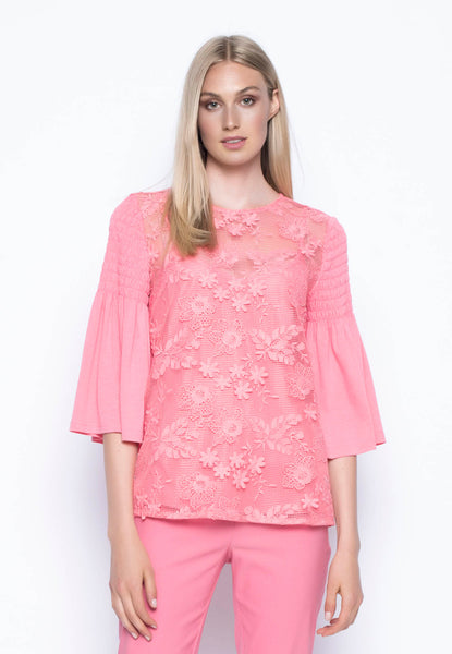 ¾ Ruched Ruffle Sleeve Top