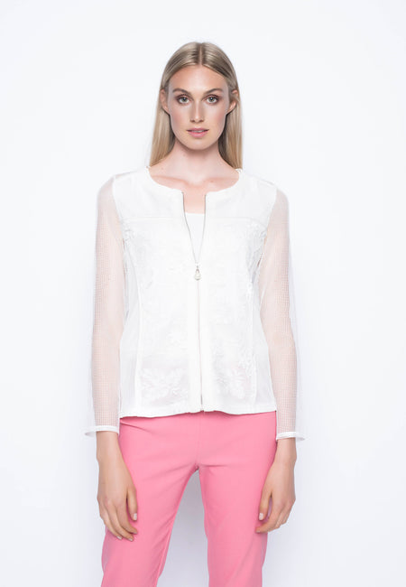 Contrast Trimmed Open-Front Jacket With Pockets