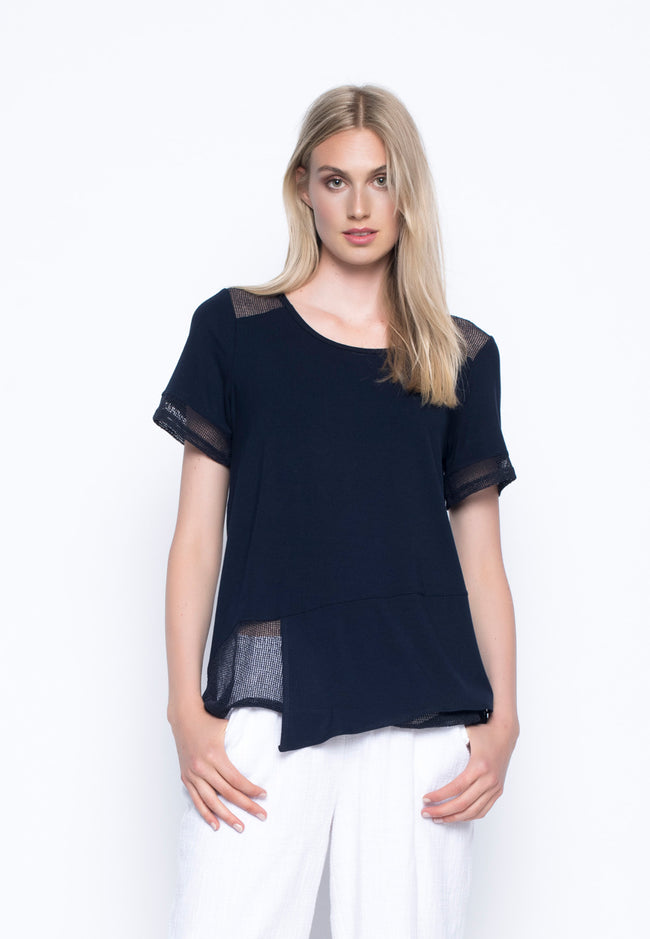 Open Knit Trimmed Short Sleeve Top
