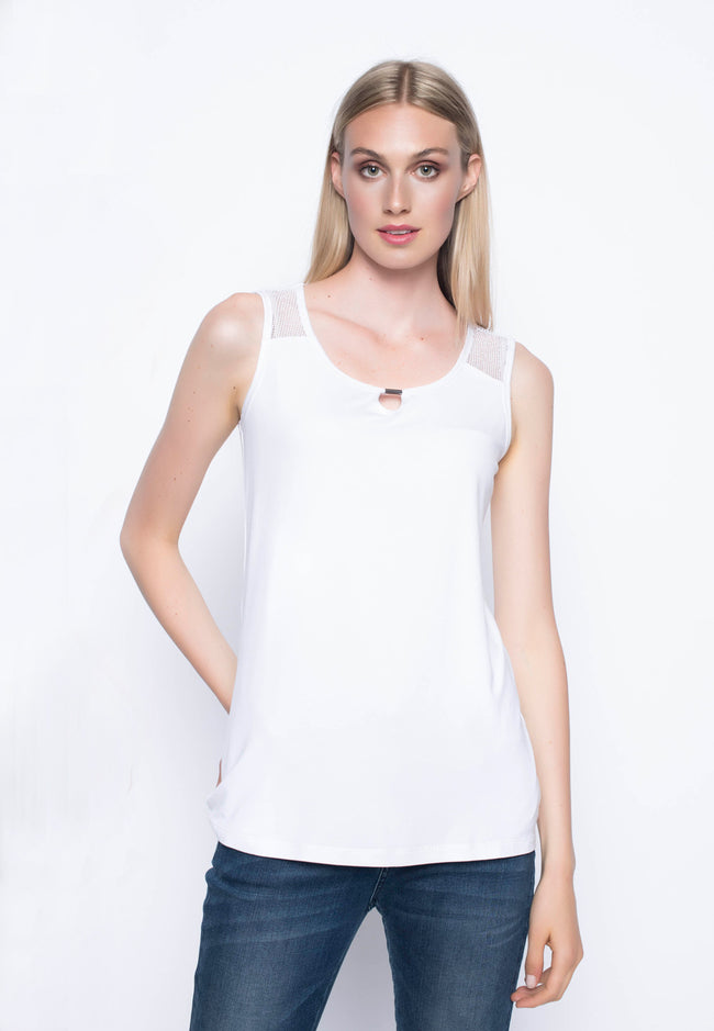Open Knit Trimmed Tank