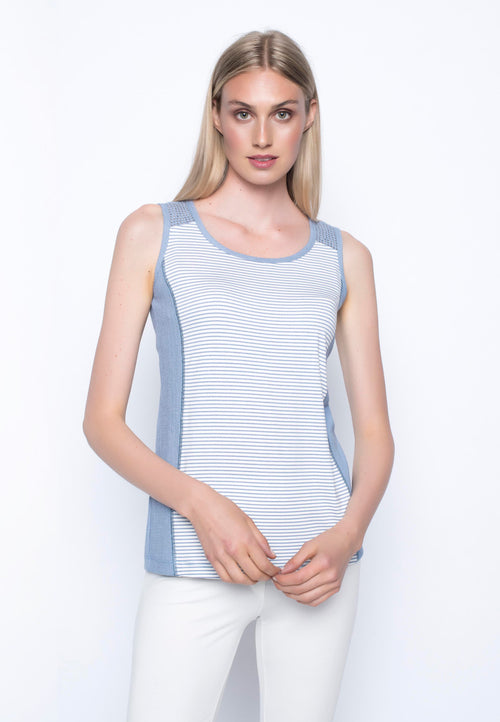 Contrast Trimmed Tank With Embellished Yoke