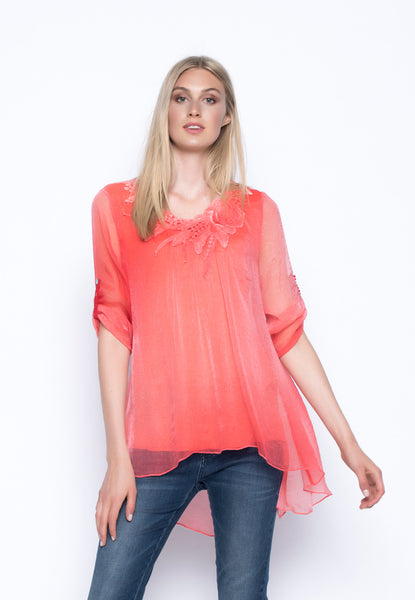 ¾ Sleeve Top With Neck Trim