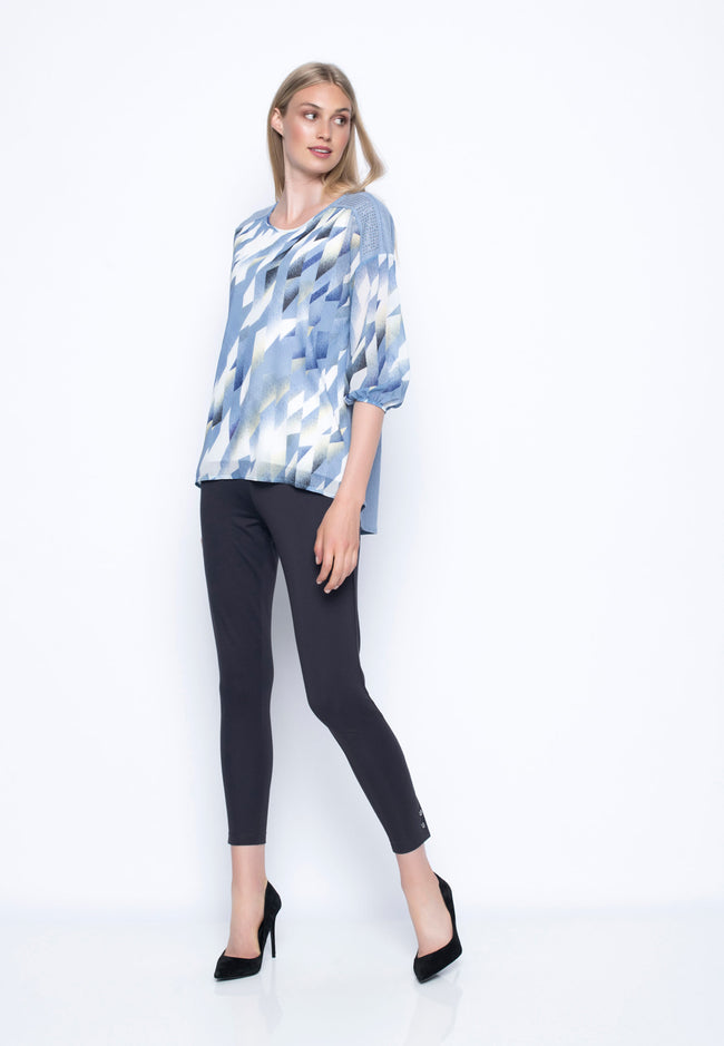 Drop Shoulder Top With Embellished Yoke