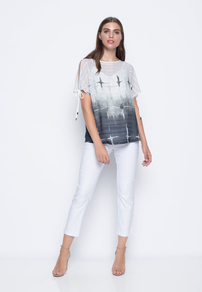 Slit Sleeve Top With Ties