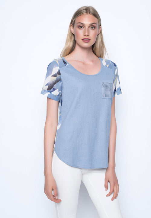 Curved Hem Top With Embellished Pocket