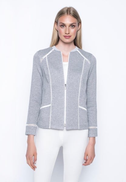 Rib Trimmed Zip Front Jacket