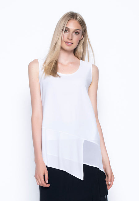 Bell-Sleeve Top With Asymmetric Hem