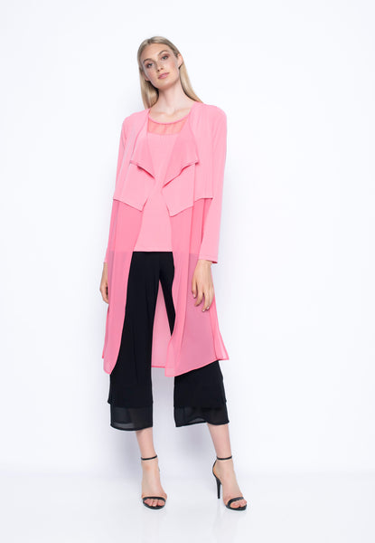 Chiffon Trimmed Long Open-Front Jacket