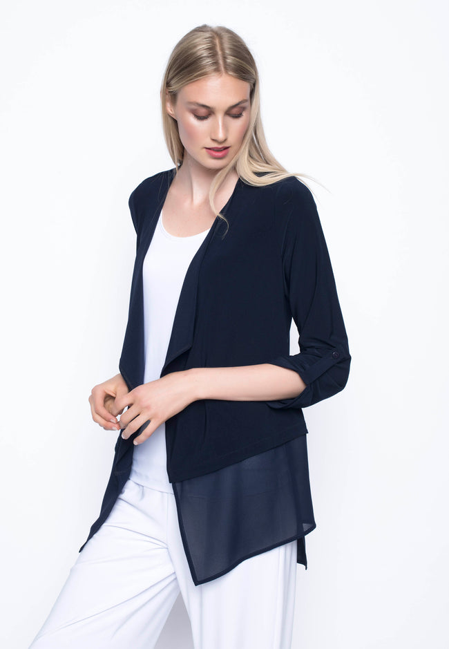 ¾ Sleeve Chiffon Trimmed Open-Front Jacket