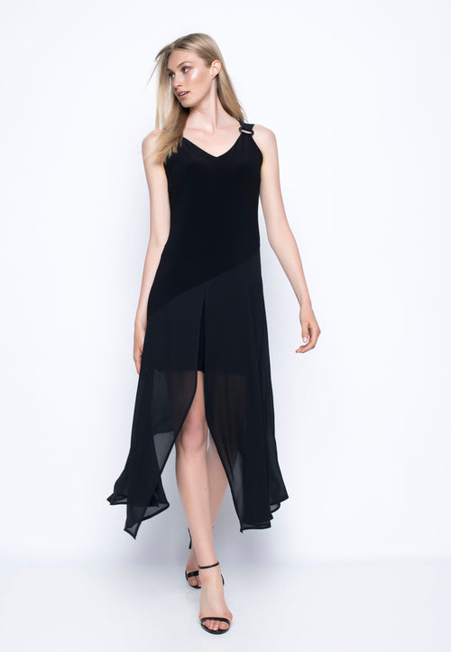 V-Neck Chiffon Overlay Dress