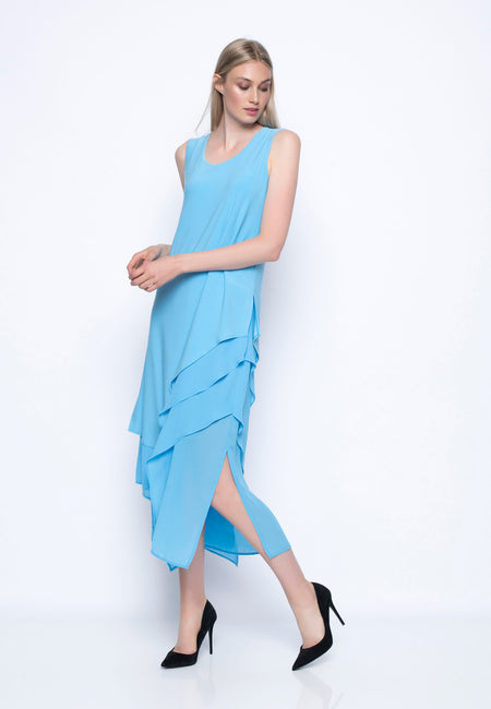 Solid Trimmed Sleeveless Dress