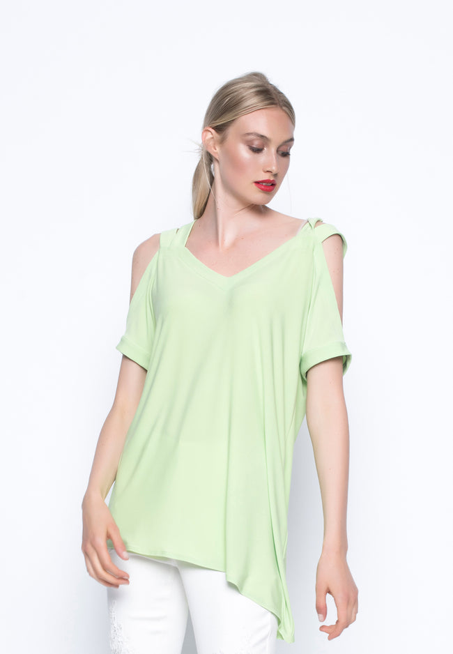 Angled Hem Top With Straps wild Lime