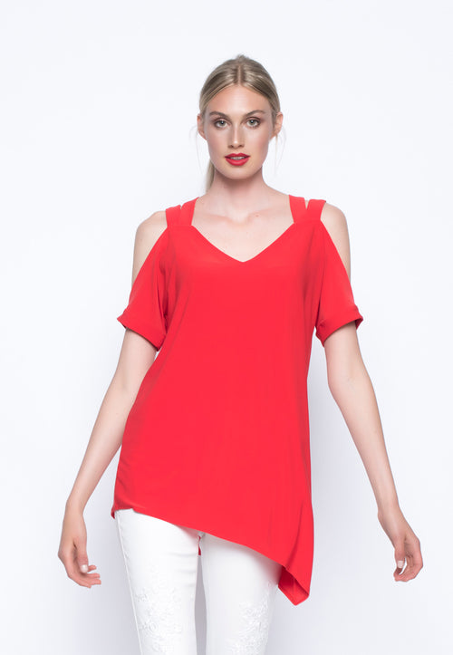 Angled Hem Top With Straps