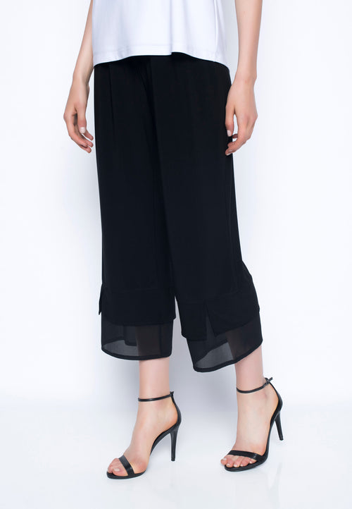 Chiffon Trimmed Cropped Pants