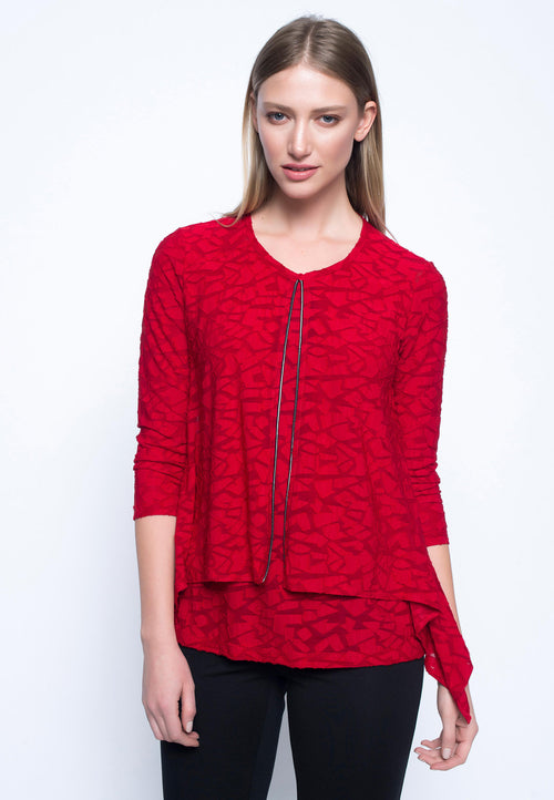Red 7-8 Sleeve Layered Top