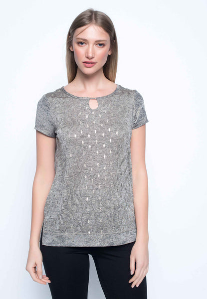 Short Sleeve Top With Keyhole