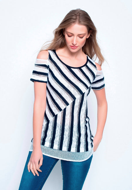 Knit Tank With Chiffon Underlay
