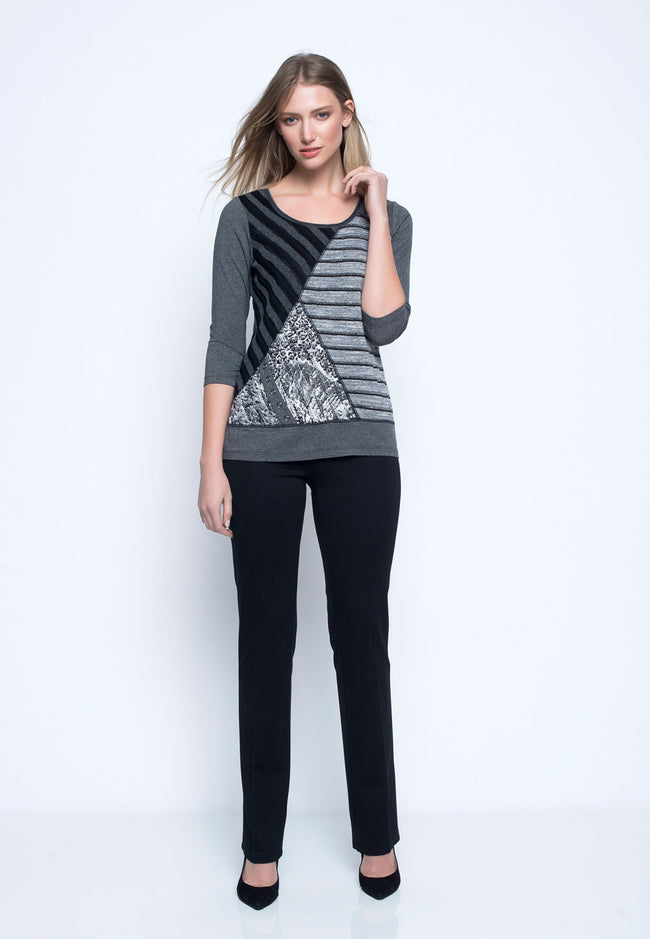 ¾ Sleeve Fabric Combo Top