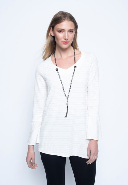 Asymmetric hem top with necklace white