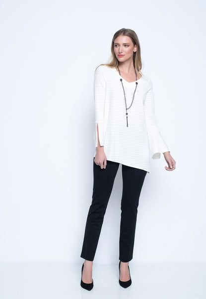 White Asymmetric Hem Top with Necklace